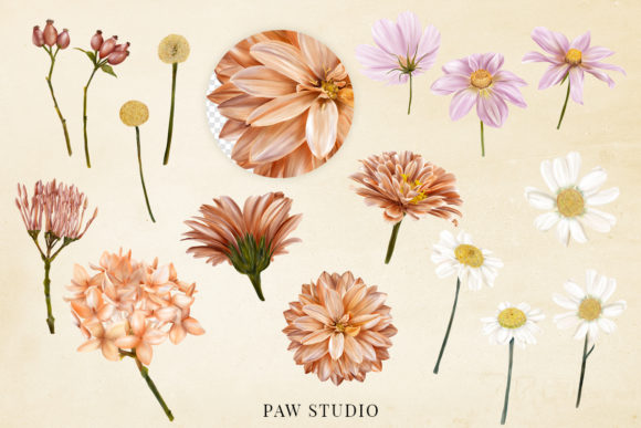 Fall Floral Clipart Girls Back to School Graphic Design