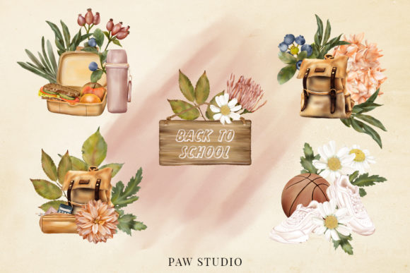 Fall Floral Clipart Girls Back to School Graphic Downloadable Digital File