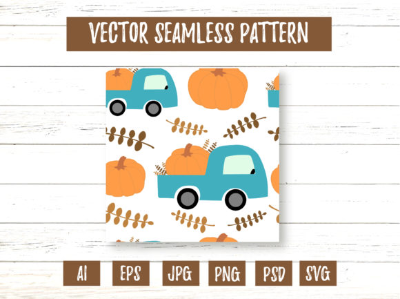 Farm Car Truck with Pumpkin Pattern Graphic Illustrations By cyrilliclettering