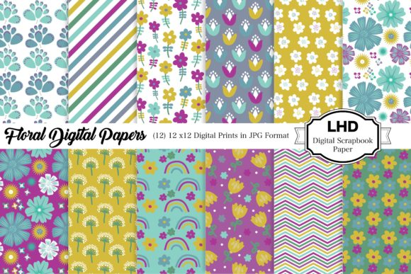 Floral Patterned Digital Papers Graphic Patterns By LeskaHamatyDesign