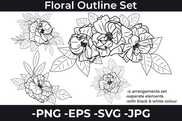 Print on Demand: Flowers Line Art Arrangements Set #2 Graphic Crafts By AzrielMch