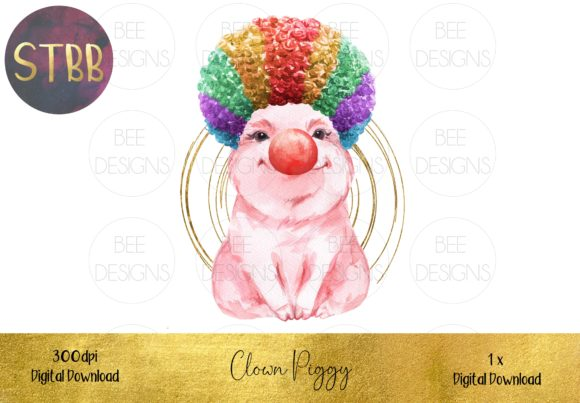 Funny Clown Piggy Sublimation Design Graphic Illustrations By STBB