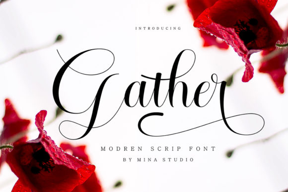 Print on Demand: Gather Script & Handwritten Font By Mina studio