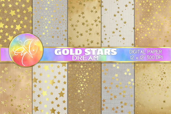 Gold Stars Dream Digital Paper Graphic Backgrounds By paperart.bymc