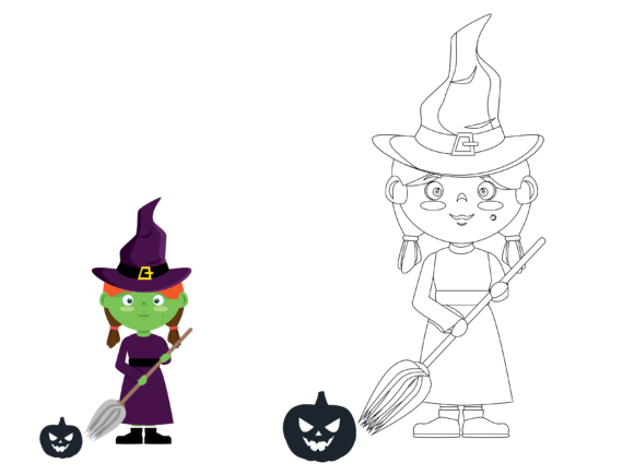 Halloween Coloring Kids Graphic Illustrations By optimasipemetaanlokal