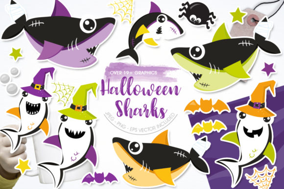 Print on Demand: Halloween Sharks Grafik Illustrationen von Prettygrafik