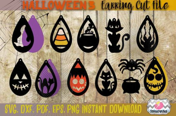 Halloween Witch Hat Earring Bundle Graphic Crafts By Timetocraftshop