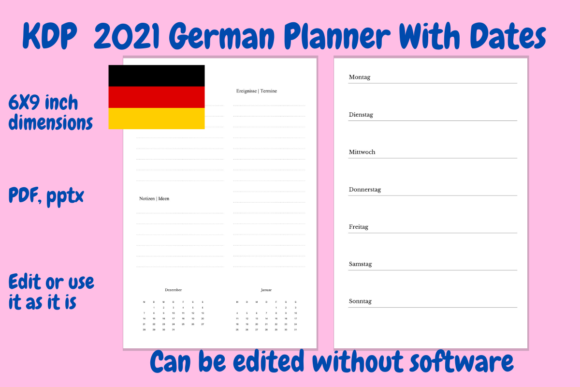 Print on Demand: KDP 2021 German Planner PDF and Pptx Graphic KDP Interiors By Income Plum