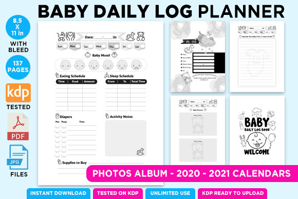 Print on Demand: KDP BABY LOG DAILY PLANNER NOTEBOOK Grafik KPD Innenseiten von Queen Dreams Store