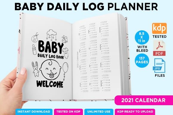 Print on Demand: KDP BABY LOG DAILY PLANNER NOTEBOOK Graphic KDP Interiors By Queen Dreams Store - Image 4