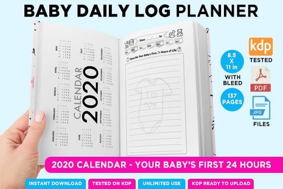 Print on Demand: KDP BABY LOG DAILY PLANNER NOTEBOOK Graphic KDP Interiors By Queen Dreams Store - Image 5
