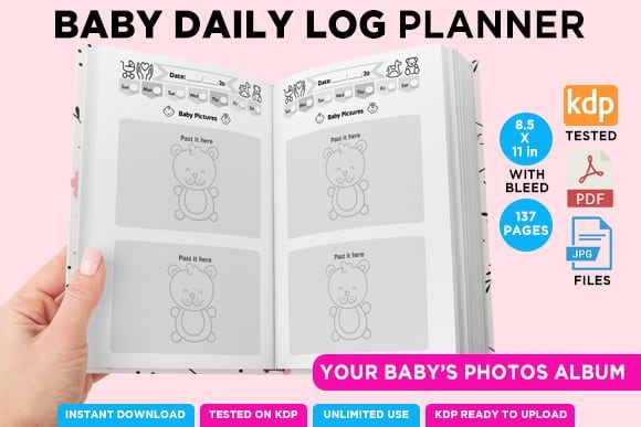 Print on Demand: KDP BABY LOG DAILY PLANNER NOTEBOOK Graphic KDP Interiors By Queen Dreams Store - Image 6