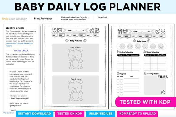 Print on Demand: KDP BABY LOG DAILY PLANNER NOTEBOOK Graphic KDP Interiors By Queen Dreams Store - Image 7