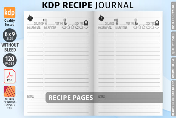 KDP Recipe Journal 01 Interior Graphic KDP Interiors By Low Content Templates