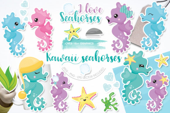 Print on Demand: Kawaii Seahorse Graphic Illustrations By Prettygrafik