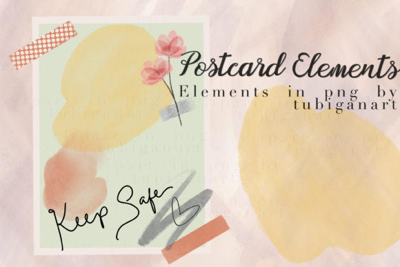 Print on Demand: Keep Safe Postcard Elements Graphic Print Templates By Tubiganart