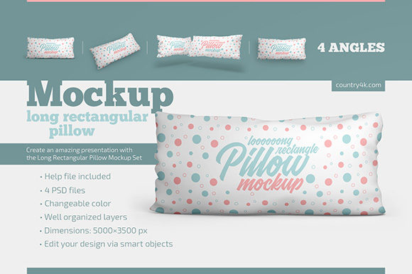 Long Rectangular Pillow Mockup Set Graphic Product Mockups By country4k