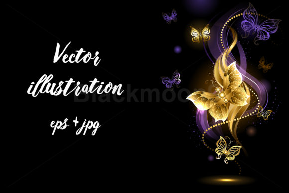 Magic Gold Butterflies Graphic Illustrations By Blackmoon9