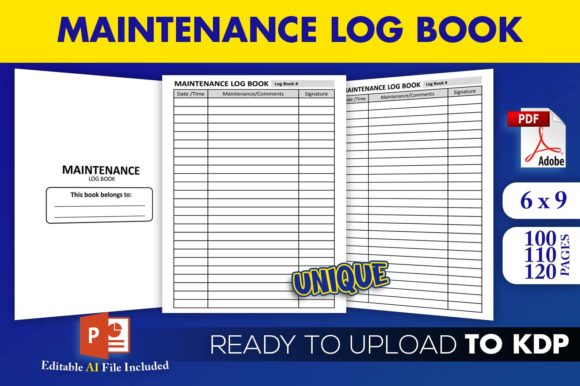 Print on Demand: Maintenance Log Book | KDP Interior Graphic KDP Interiors By Beast Designer