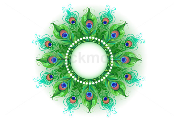 Mandala of Green Peacock Feathers Graphic Illustrations By Blackmoon9