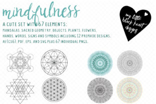 Mindfulness Set Graphic Illustrations By My Little Black Heart