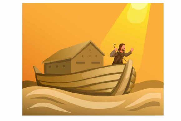 Print on Demand: Noah in Ark in Great Flood in Biblical Graphic Illustrations By aryo.hadi