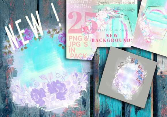 Painters Designs - Flowers in Paint Graphic Print Templates By Anna Tarach