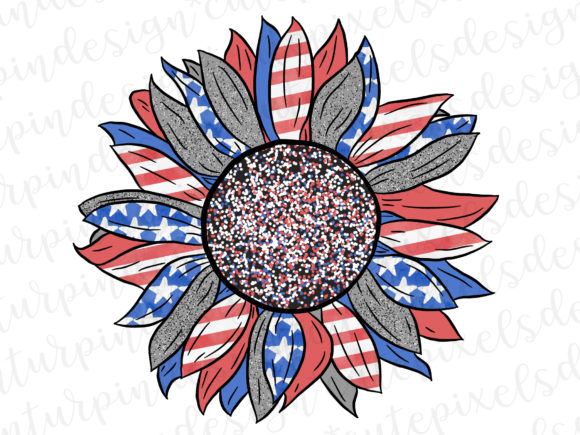 Print on Demand: Patriotic Sunflower Graphic Illustrations By SusanTurpinDesign