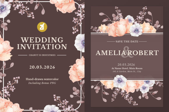 Peony Anemone Wedding Invitation Graphic Graphic Print Templates By Chanut is industries