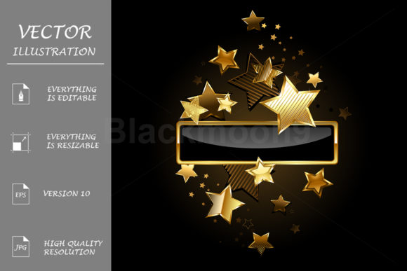 Rectangular Banner with Gold Stars Graphic Illustrations By Blackmoon9
