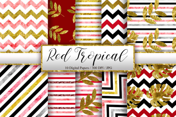 Red Tropical Glitter Digital Papers Graphic Backgrounds By PinkPearly