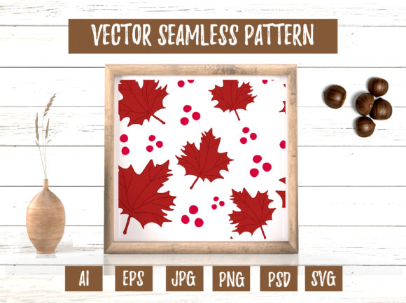 Red Maple Leaves Berry Seamless Pattern Graphic Illustrations By cyrilliclettering