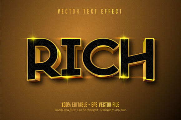 Print on Demand: Rich Text, Shiny Gold Style Text Effect Graphic Graphic Templates By Mustafa Bekşen