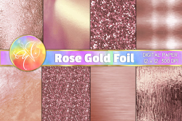 Rose Gold Foil, Glitter, Digital Paper Graphic Backgrounds By paperart.bymc