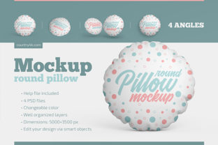 Round Pillow Mockup Set Graphic Product Mockups By country4k 1