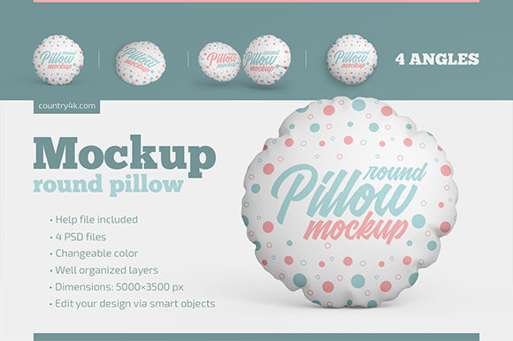 Round Pillow Mockup Set Graphic Product Mockups By country4k