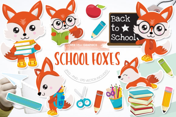 Print on Demand: School Foxes Graphic Illustrations By Prettygrafik