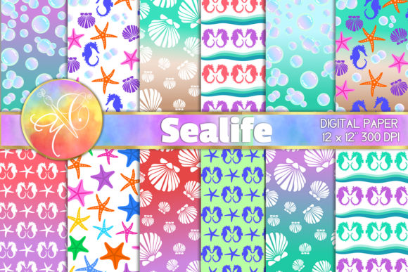 Sealife Digital Paper, Background Graphic Backgrounds By paperart.bymc - Image 1