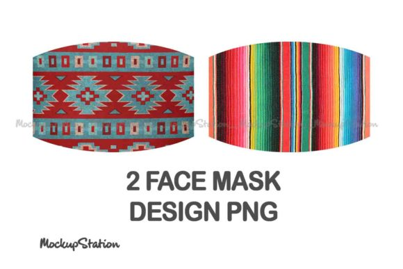 Print on Demand: Serape Face Mask Sublimation Design Set Graphic Patterns By Mockup Station