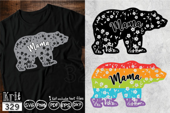 Silhouette Flower Mama Bear Graphic Crafts By Krit-Studio329