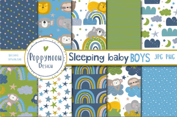 Print on Demand: Sleeping Baby Boy Paper Graphic Patterns By poppymoondesign - Image 1