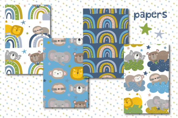 Print on Demand: Sleeping Baby Boy Paper Graphic Patterns By poppymoondesign - Image 2