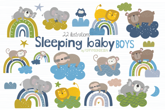 Print on Demand: Sleeping Baby Boys Clipart Grafik Illustrationen von poppymoondesign