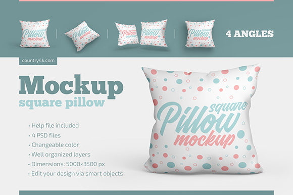 Square Pillow Mockup Set Graphic Product Mockups By country4k - Image 1