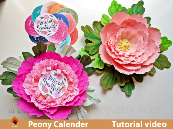 Print on Demand: Standing Peony Calendar, Peony Backdrop Graphic 3D Flowers By lasquare.info