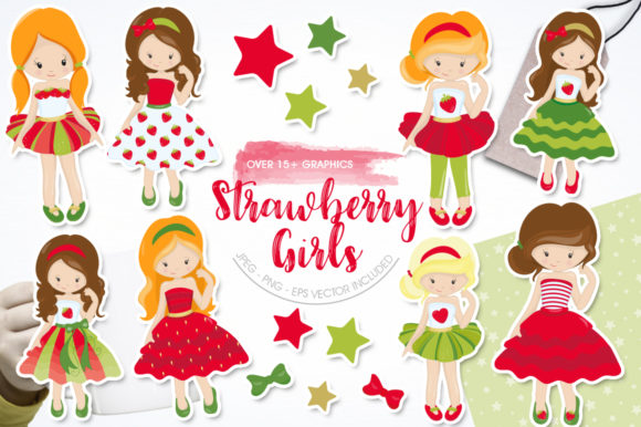Print on Demand: Strawberry Girls Graphic Illustrations By Prettygrafik
