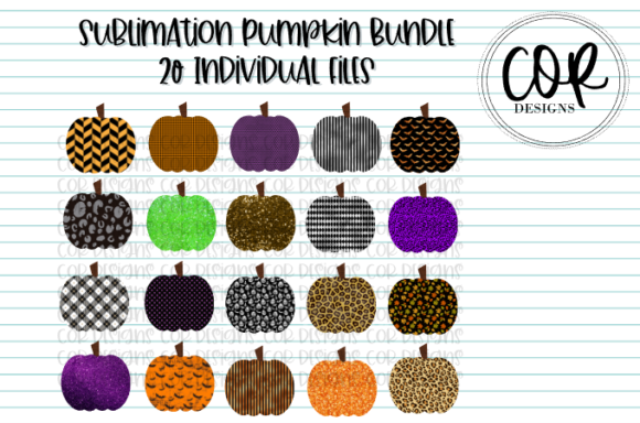 Print on Demand: Sublimation Pumpkin Bundle - 20 Files Graphic Crafts By designscor