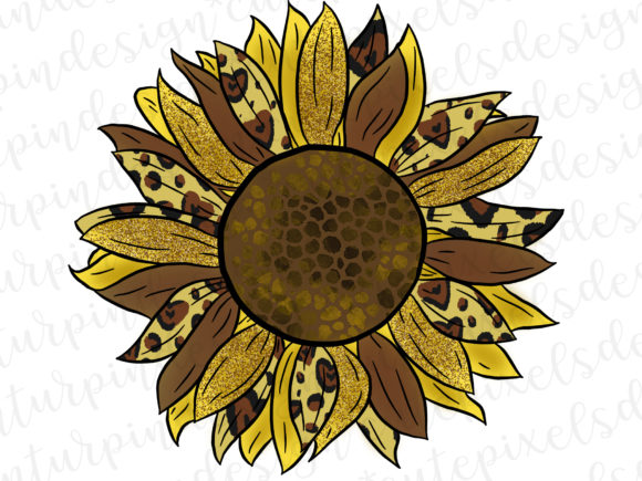 Print on Demand: Sunflower with Animal Print Graphic Illustrations By SusanTurpinDesign