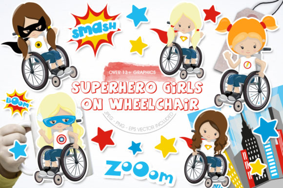Print on Demand: Superhero Girl on Wheelchair Graphic Illustrations By Prettygrafik