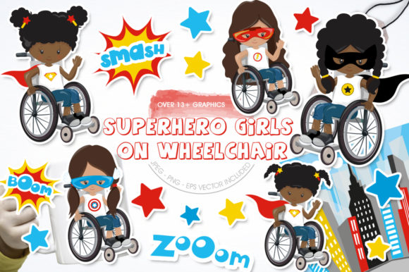 Print on Demand: Superhero Girls on Wheelchair Graphic Illustrations By Prettygrafik